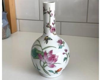 Vintage Japanese Ceramic Bud Vase, Multicoloured Floral, Signed
