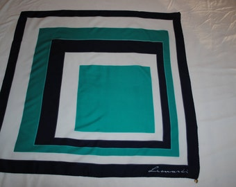 Vintage 1970's Italian designer scarf in Navy, green and white