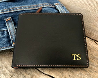 Gift for him • Men's wallet with coin pocket •  personalized mens wallet •  RFID monogram wallet • Father's day gift • Black/Toffee 7723
