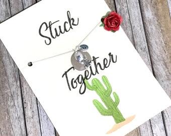 Cactus necklace, Cactus jewelry, Best friend necklace, Friendship necklace, Best friends, BFF necklace, Cactus, Succulent jewelry,  A83