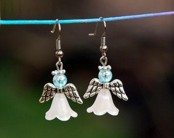 Angel earrings, Dangle earrings, Christmas turquoise tassel earrings, Miniature doll, Christmas Jewelry, Guardian gift idea, Fairy jewelry