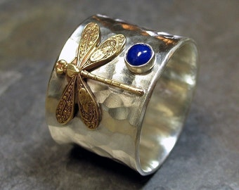 Libelle Ring aus Sterlingsilber mit Wahl von Stein - Libelle Schatz