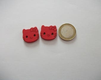 2 large buttons - 20 mm - cat decor - over sweater, baby, or other...  2 Red-