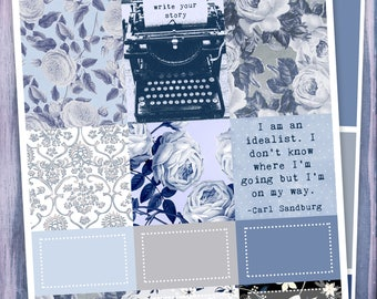 Write Your Story, Mini Kit for use with Erin Condren Vertical LIFEPLANNERS, Planner Stickers, Typewriter, Writing, Authors, Fresh Start