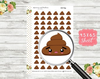 Poop Planner Stickers - Poop Emoji Stickers - Poop Kawaii Stickers - Poop Emoticon Stickers - Kawaii Poo Stickers - H201