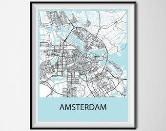 Amsterdam Map Poster Print - Black and White