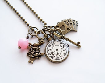 Alice In Wonderland Charm Necklace - Literary Jewelry - Book Lover Necklace - Clock Charm - You Choose Bead - Custom Charm Necklace - Rabbit