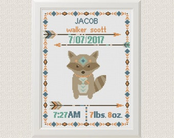 Cross stitch Birth announcement Raccoon cross stitch pattern boho  baby sampler new baby boy birthday gift  aztec tribal nursery home decor