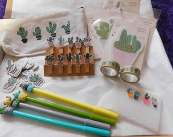 Cactus Cacti stationary box. pin badges. pens. sticky notes. pegs. washi tape. tape. scrapbook. student. student gift. gift.