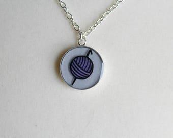 Purple Crochet Hook Necklace, Yarn Ball Necklace, Crochet Jewelry, Crochet Gift, Crocheter Gift, Red, Green, Pink, Blue, Yellow, Green, Pink