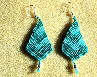 Gifts for her, Macrame earrings, boho jewelry, knotted jewelry,micro macrame, hippie, chic