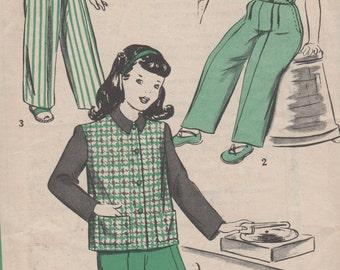 "Sz 10-1940's Child's Jacket and Slacks Hollywood Pattern 1615 Girls Breast 28"""