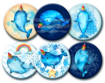 Unicorn Narwhals digital collage sheet, watercolour 1 inch round circles, watercolor, hand-drawn narwhals, printables, sea creatures, fairy.