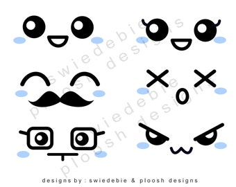 Digital Prints (B) of 6 Kawaii Faces Blue Cheeks (via Email) for Cards, Tags, Scrapbooking, Collage, Stickers, Namecards
