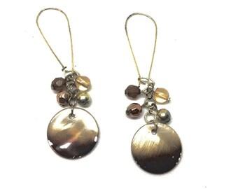 Bronze Circle Drop Earrings