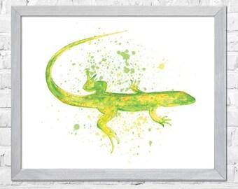 Gecko Watercolor Art Print, Animal Art, Gecko Watercolor, Nursery Wall Art, Watercolor Painting, Kids Room Decor, Home Decor