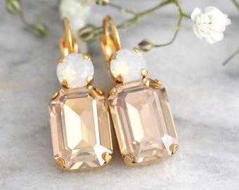 Champagne Earrings, Topaz Earrings, Bridal Drop Crystal Earrings, Swarovski Crystal Earrings, Moonstone Earrings, Bridesmaids Drop Earrings