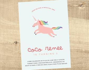 Unicorn birthday invitation baby shower rainbow little girl gender neutral reveal 1st first party couples sprinkle rainbow party invitation