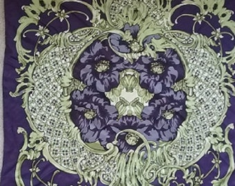 Talbot's  Deep Purple and Sage Silk Square Scarf