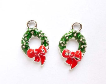 2 Silver Plated Christmas Wreath Charms - 21-61-5