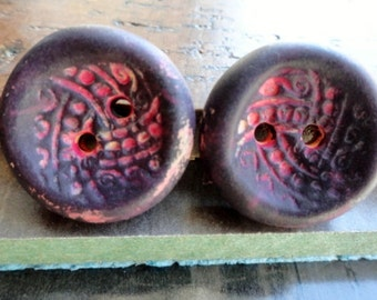 rustic assemblage buttons - polymer clay beads - Bead Soup Beads - Clay Buttons