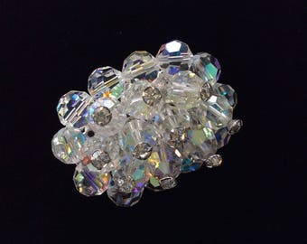 Vintage beaded brooch- Vintage clear crystal brooch with rhinestones- Beaded cluster brooch with aurora borealis crystals