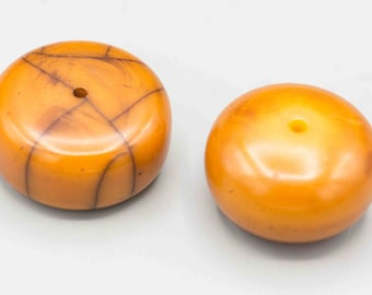 "2 Old African Copal ""Amber"" Trade Beads 35x16mm and 35x20mm SKU-TB-70"