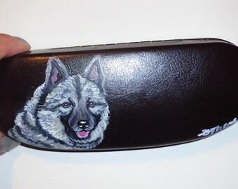 Norwegian Elkhound Dog  Hand Painted Eyeglass Case Sunglass Case