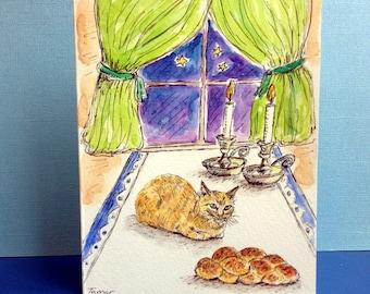 Jewish Card, Shabbat Art, Shabbat Shalom, Orange Cat, Hand Painted Card, Original Watercolor, Shabbat Candles, Challah Bread, Sabbath Table
