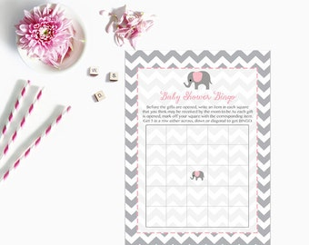 Pink Elephant Baby Shower Bingo Cards, Elephant Baby Shower Bingo Card, Grey Gray Chevron Instant Download  227 Printable