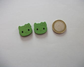 2 large buttons - 20 mm - cat decor - over sweater, baby, or other...  2 green-