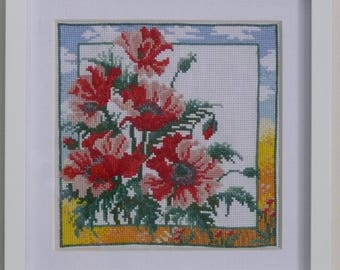 Poppies-1 cross stitch embroidered framed painting picture