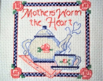 """Cross Stitch """"Mothers Warm The Heart"""" - Finished and Framed"""