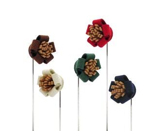 Flower lapel pin, boutonniere, wedding lapel pin, brown lapel pin, white lapel pin, greenery lapel pin, red lapel pin, blue lapel pin.