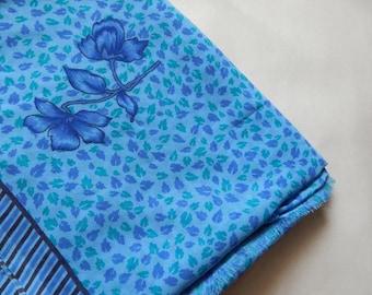 5 yards of Sari Fabric, Indian Chiffon Fabric, Ethnic Fabric, Blue Sari Fabric, Indian Chiffon Sari Fabric