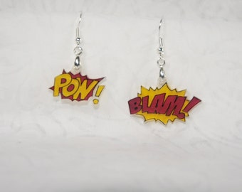 """comic book exclamation earrings, 100% recycled """"shrinky dink"""""""