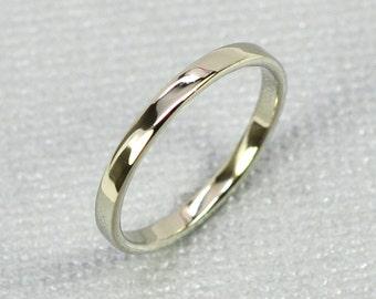 White Gold Wedding Band, 14K White Gold Skinny Ring, 2mm, Sea Babe Jewelry