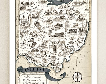 OHIO MAP PRINT - vintage pictorial map of ohio - size & color choices - personalize it - gift idea for many occasions - fun wall decor