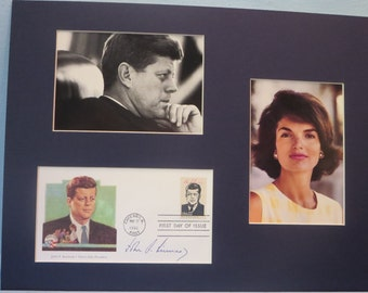 President John Kennedy and Jackie Kennedy and First Day Cover of the John F. Kennedy stamp