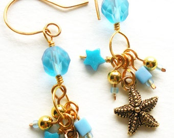 Handmade Charm Earrings with Turquoise Blue Glass Beads and Gold Starfish