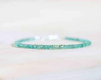 Emerald Bracelet with Rose Gold Fill or Sterling Silver, Skinny Zambian Emerald Jewelry, May Birthstone, Faceted Green Gemstone Beads