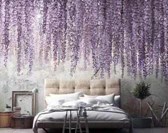 Mural wallpaper, Removable wallpaper Watercolor Wisteria  - Textured  Wallpaper. Temporary wallaper