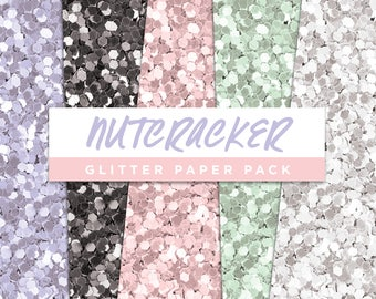 Nutcracker Collection Glitter Seamless Paper Pack // Seamless Pattern Digital Papers Planner Stickers Clipart Digital Scrapbooking