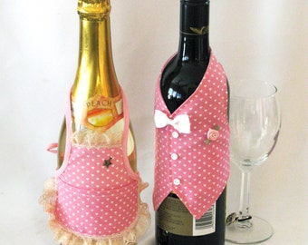 Wine Jacket Host & Hostess in pink heart print