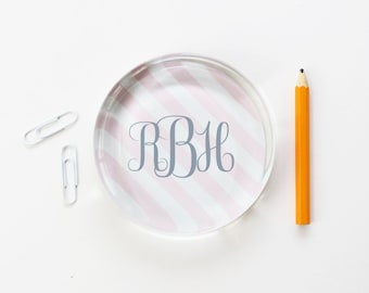 Personalized Office Supplies Custom Monogrammed Glass Paperweight Pink and Grey Stripes Office Decor College Graduation Teacher Gifts