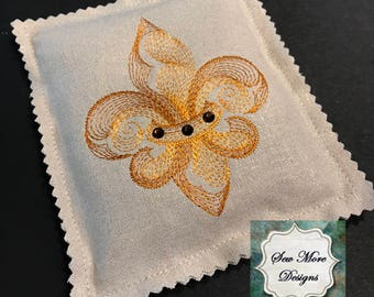 Dried Handmade Lavender Sachets ~ Embroidery Fleur De Lis ~ Organic Lavender Flowers