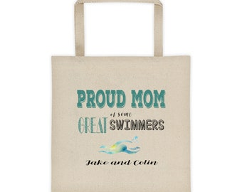 PERSONALIZED Proud Mom of Great Swimmers (Jake and Colin) Tote bag