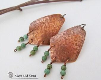 SALE: Copper Earrings with Jasper Stones, Green Stone Earrings, Handmade Copper Jewelry, Boho Earrings, Earthy Rustic Jewelry, Sale Earrings