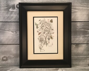 Wall Art, Original Pen And Ink Drawing With Watercolor Pencil Home Decor Fine Art Hand Sketched Fairy Artwork, Item #512632871