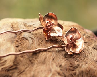 Real orchid hair pin,natural flower hairfork,christmas gift for her,hair stick,electroformed,electroplated orchids,fairy elven elvish hairdo